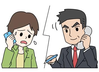 電話で無料相談をしているヤミ金被害者と弁護士
